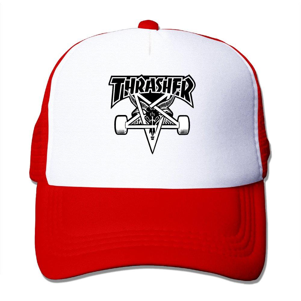 Anport Thrasher Sk8 Logo Trucker Mesh Snapback Hat Black Anport Shop