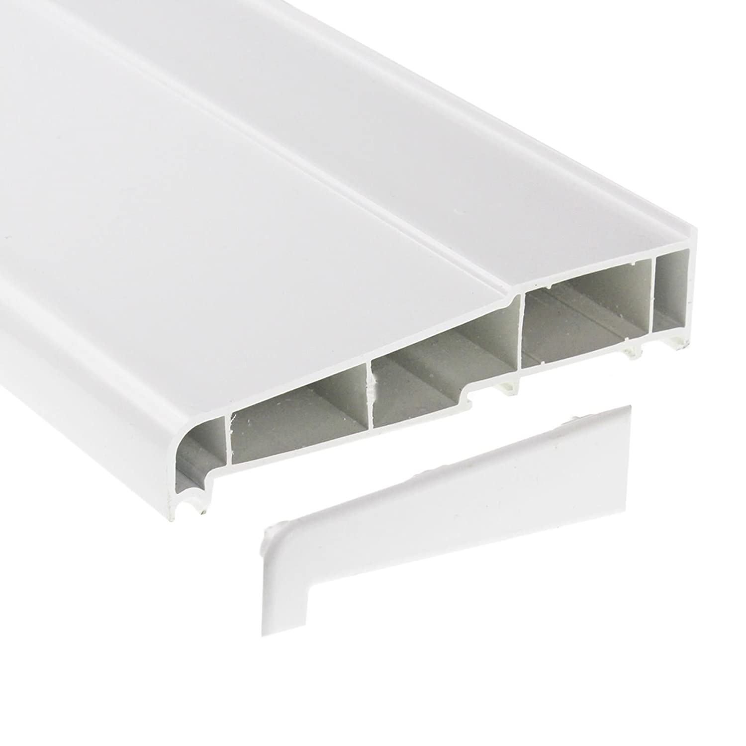 150mm x 1m White UPVC Plastic External Window Sill with 2 End Caps Eurocell
