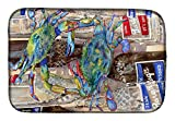 """Caroline's Treasures 8914DDM Blue Crabby Bottles of Barqs Rootbeer Dish Drying Mat, 14 x 21"""", multicolor"""