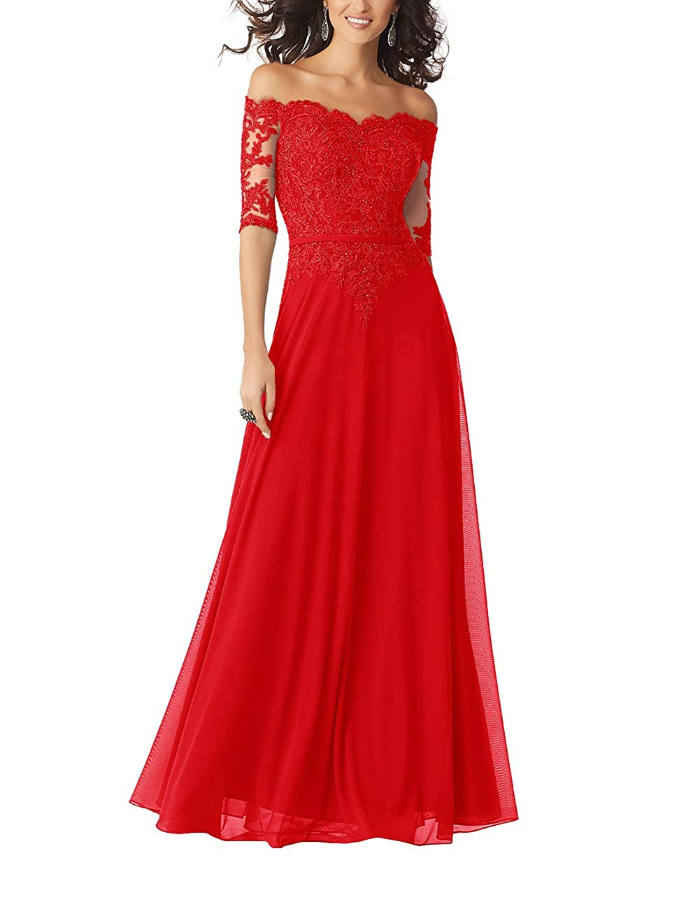 Red Women Lace Formal Evening Gown Half Sleeves Mother The Bride Dress