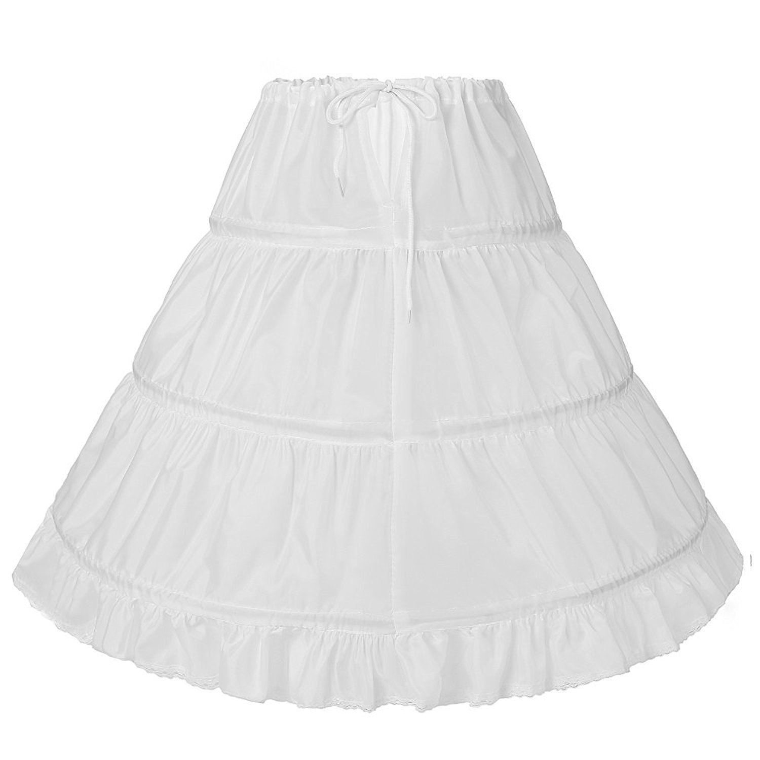 Vicokity Girls 3 Hoops Underskirt Petticoat Long Crinoline for Kids Flower Girl Dress