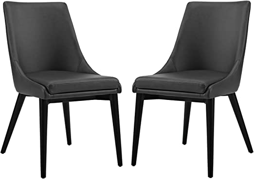 Amazon Com Modway Viscount Mid Century Modern Faux Leather Upholstered Two Dining Chairs In Black Chairs