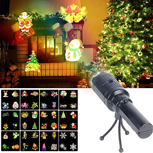 KMASHI Christmas Projector Lights, Battery Operated Projection Flashlight