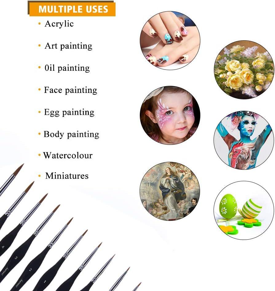 10 PCS Cadeau pour Artiste D/étail Pinceau Ensemble Artiste Miniature Pinceaux Peinture Fournitures pour Art Aquarelle Acryliques Huile