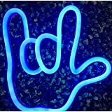 I Love You Gesture Finger& Palm LED Neon Sign Wall Decor Night Lights for Bedroom,Living Room, Christmas,Party as Kids Gift (Blue, Love Gesture)