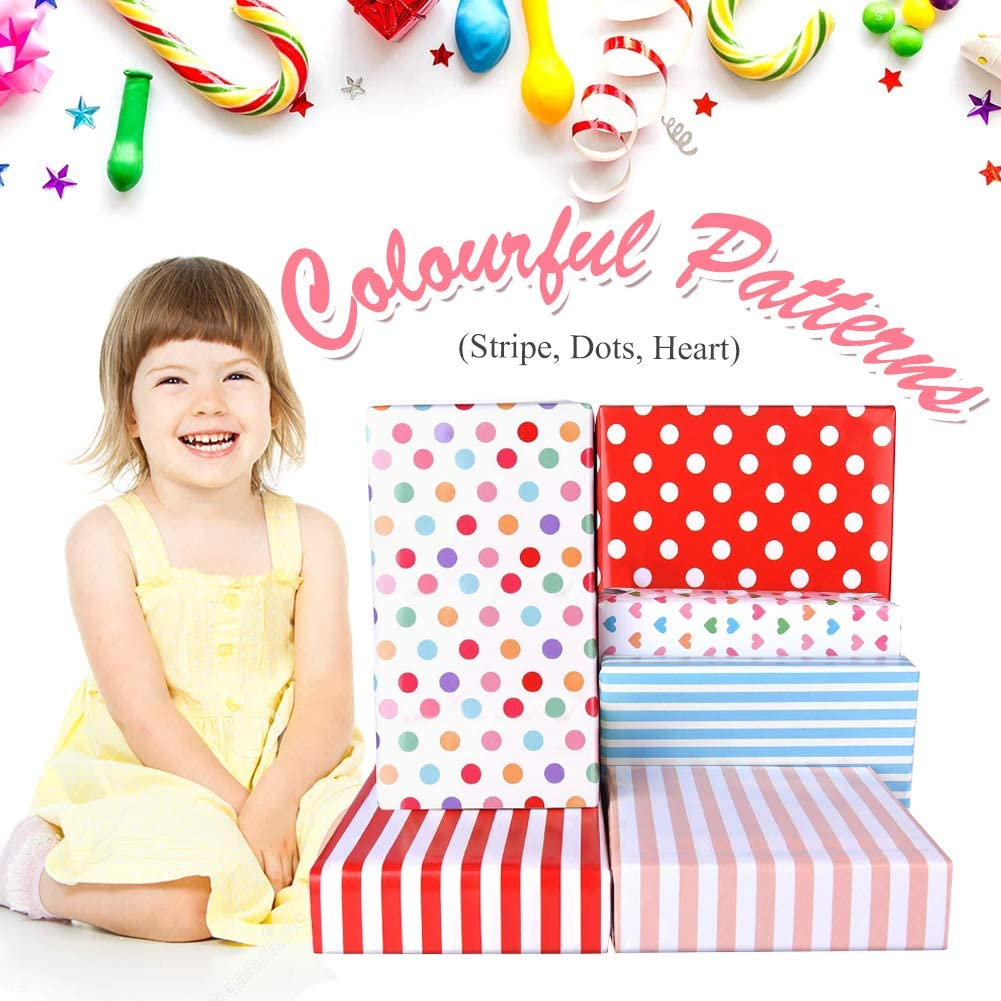 Packpapier mit B/änder Aufkleber Leere Gru/ßkarten Umschlag f/ür Geschenkverpackung Herz Punkte Streifen Geschenkpapier 6 Blatt