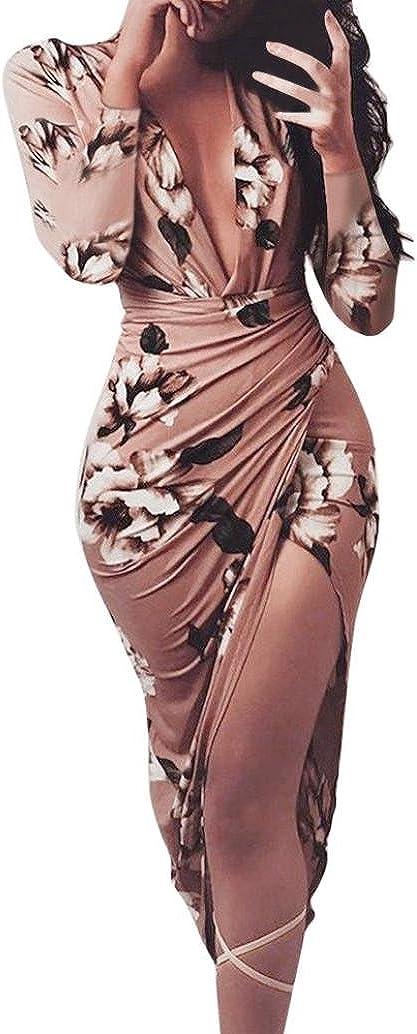 Yesmile Vestido de Mujer Vestido de Estampado Vestido Elegante de Noche para Boda Fista Vestido Ajustado de Manga Larga Floral Casual de Mujer