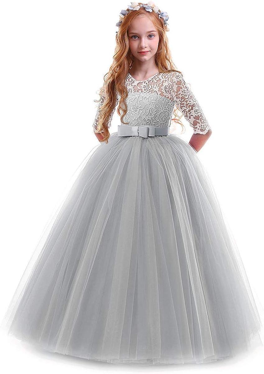 OBEEII Vestidos De Princesa Fiesta de la Boda de Las Niñas para Bordado Graduación Comunión Cumpleaños Paseo Baile Cóctel Vestido de Novia 2-14 Años