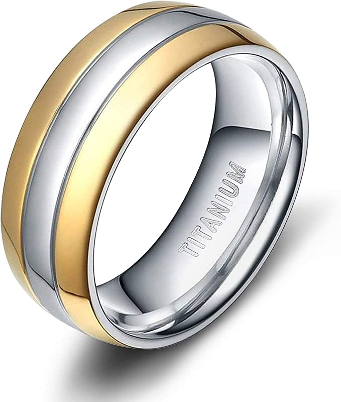 Wedding Bands Classic Bands Domed Bands Titanium 8mm Polished Band Size 13.5