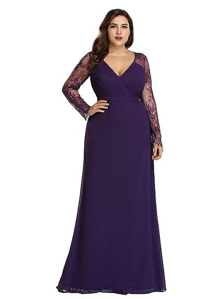 fd95c8afbb9b41 Ever Pretty Women's Long Sleeves V Neck Floor Length A line Chiffon Evening  Dresses Dark Purple
