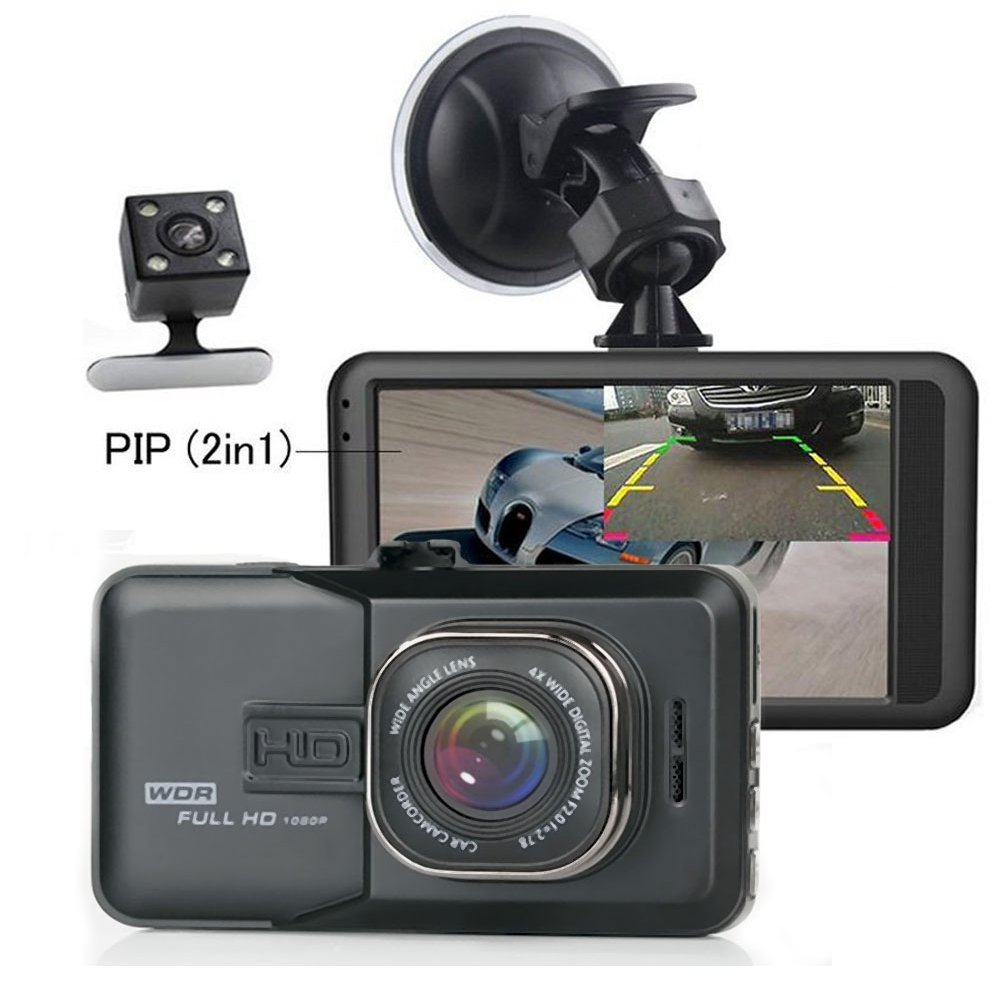 Dash Cam, Camecho Dash Camera Dual Lens 3 Inch 1080P Full HD Black Box Video Recorder with Backup Rearview Camera Night Vision Waterproof 170 Degree Viewing camecho(canada local deliver) CM00-K0099