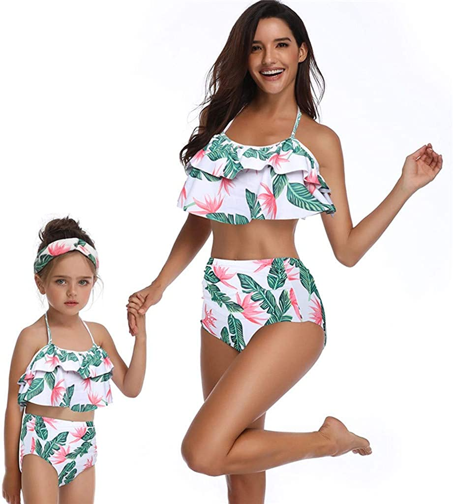 Yutao Mommy and Me Swimsuits High Waisted Family Matching Swimwear Baby Girls Floral Printed Bikini Set