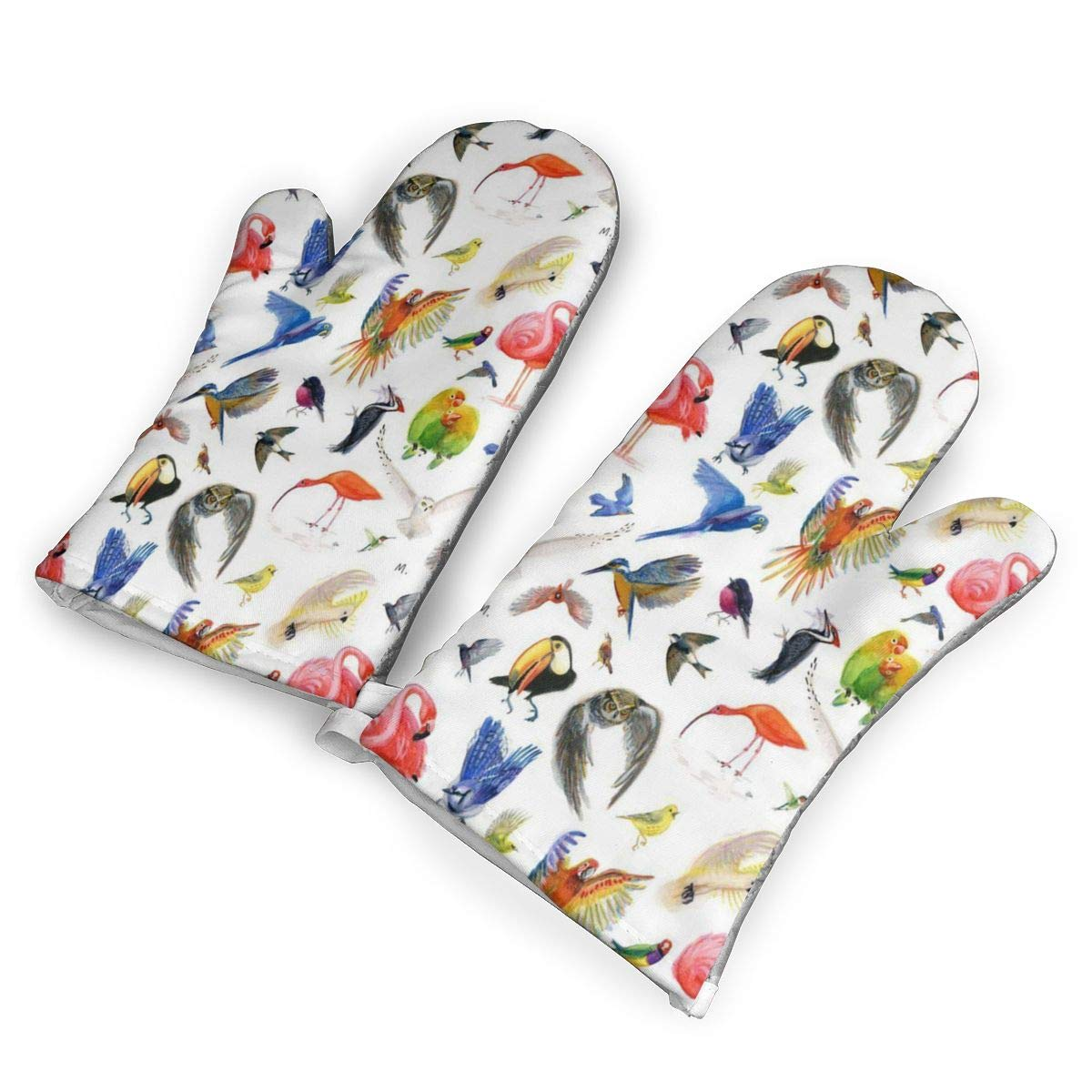 QOQD Rainbow Birds Oven Mitts with Polyester Fabric Printed Pattern,1 Pair of Heat Resistant Oven Gloves for Cooking,Grilling,Barbecue Potholders