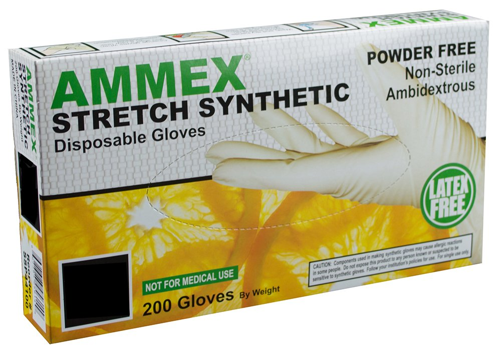 AMMEX - SSP48100-BX - Stretched Poly Gloves - Disposable, Industrial, Food Safe, 1 mil, XLarge, White (Box of 200)