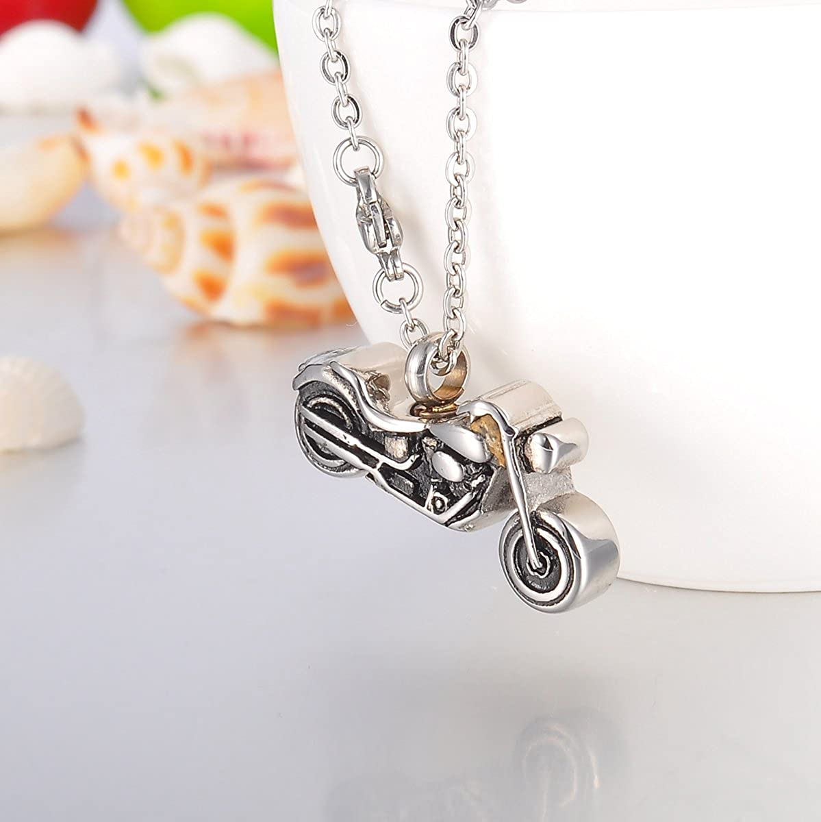 Valyria Motorcycle Cremation Urn Necklace Keepsake Ashes Memorial Pendant with Engraving