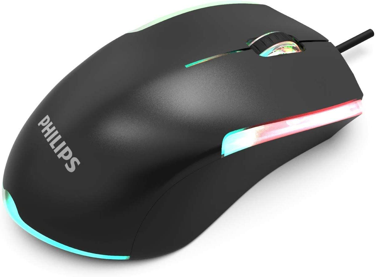 """PHILIPS 3-Button Wired Computer Mouse with RGB """"Ambiglow"""" FX   Ambidextrous USB Optical Mouse for Laptop, Chromebook & More   1200 DPI, Ergonomic, Spill-Resistant (SPK9314)"""