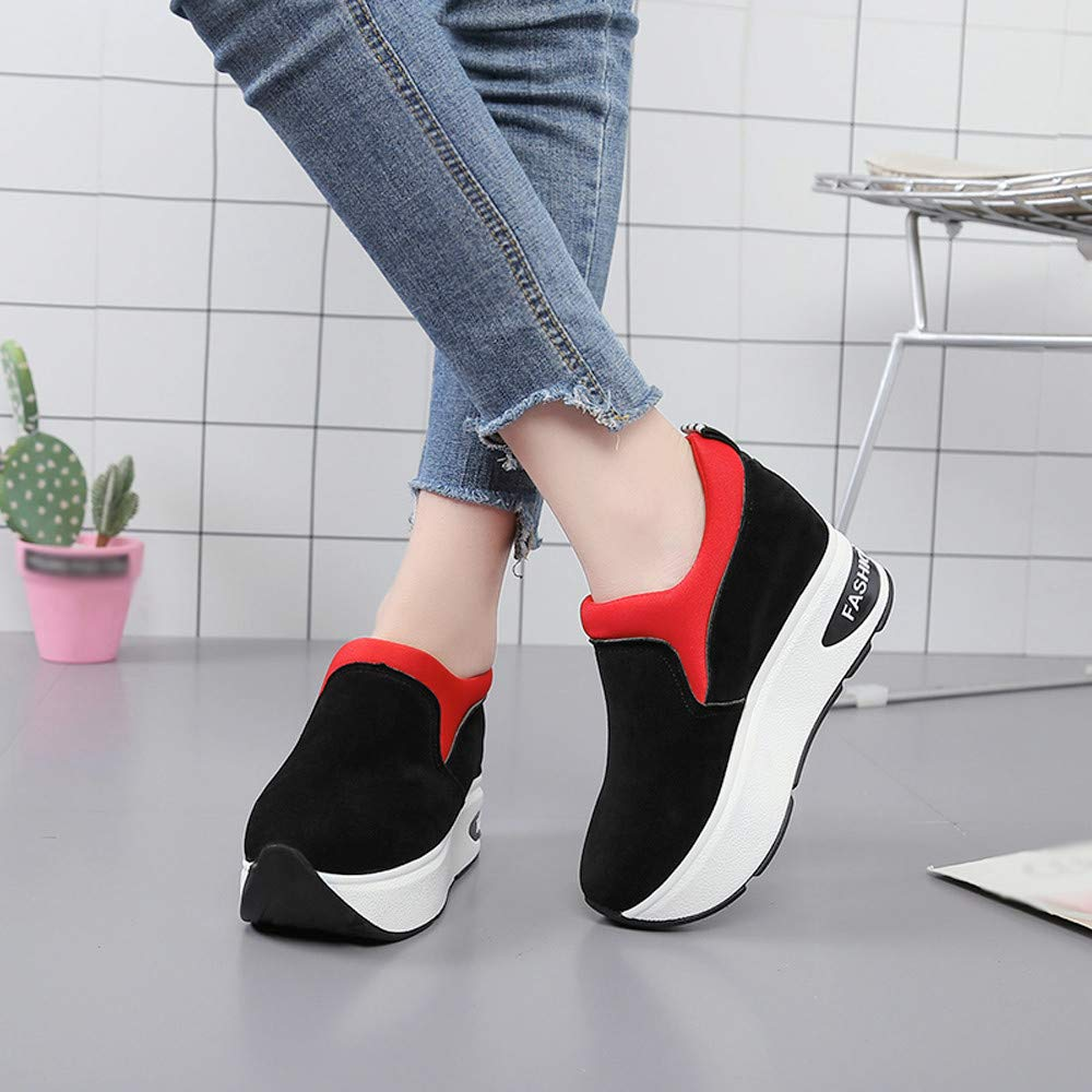 Claystyle Women Fashion Sneakers Sports Running Hiking Thick Bottom Platform Shoes(Red,US: 6.5) by Claystyle Shoes (Image #4)