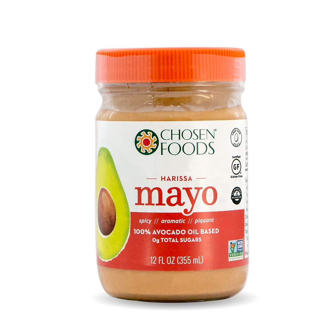 Chosen Foods Avocado Oil Harissa Mayo 12 oz. (6 Pack), Non-GMO, Gluten Free, Dairy Free for Sandwiches, Dressings, Sauces and Mediterranean Recipes by Chosen Foods