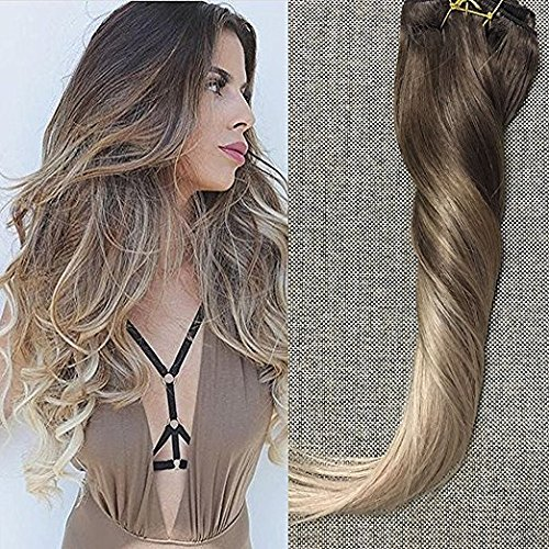 Full-Shine-14-to-22-120gram-10-Pcs-Balayage-Clip-in-Human-Hair-Extensions-Best-Rated-Clip-in-Hair-Extensions-Color-2-Fading-to-Color-6-Full-Head-Clip-in-Hair-Extensions