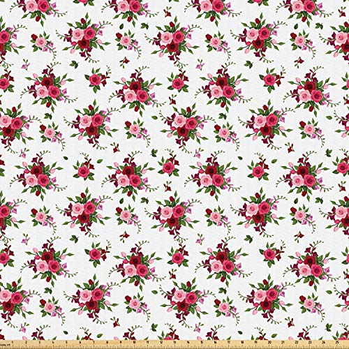 Ambesonne Flowers Fabric by The Yard, Bridal Bouquets Pattern with Roses and Freesia Romantic Victorian Composition, Microfiber Fabric for Arts and Crafts Textiles & Decor, 2 Yards, Pink Ruby Green