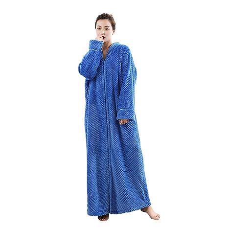 SEX Bata de mujer Espesamiento Franela Falda del sueño Calentar Mangas largas Albornoces , blue ,