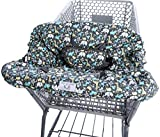 Heather and Heath Comfort Plus 2-1 Premium Grocery Shopping Cart Cover and High Chair Cover, Universal Elasticated Fit Any Size Cart Design, Ultra Plush, 100% Cotton Upper, Full Seat Harness (Grey)