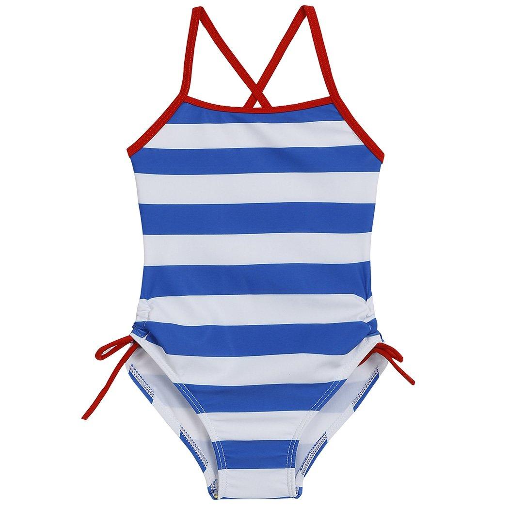 Little Girls Stripe Floral Swimwear Cross Back One Piece Swimsuit Bathing Suit