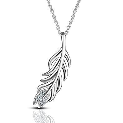Canyon CPF1211 Women's Necklace with Feather Pendant 925/1000 Sterling Silver, 2g, 43cm