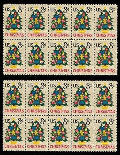 Vintage Needlepoint Christmas Tree Postage Stamps * Christmas Card Postage Stamps ()