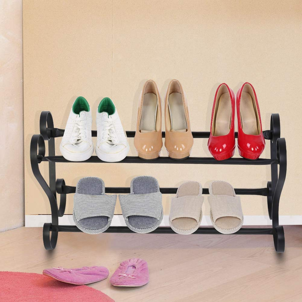 /Étag/ère /à chaussures double compartiments vintage en m/étal et fer