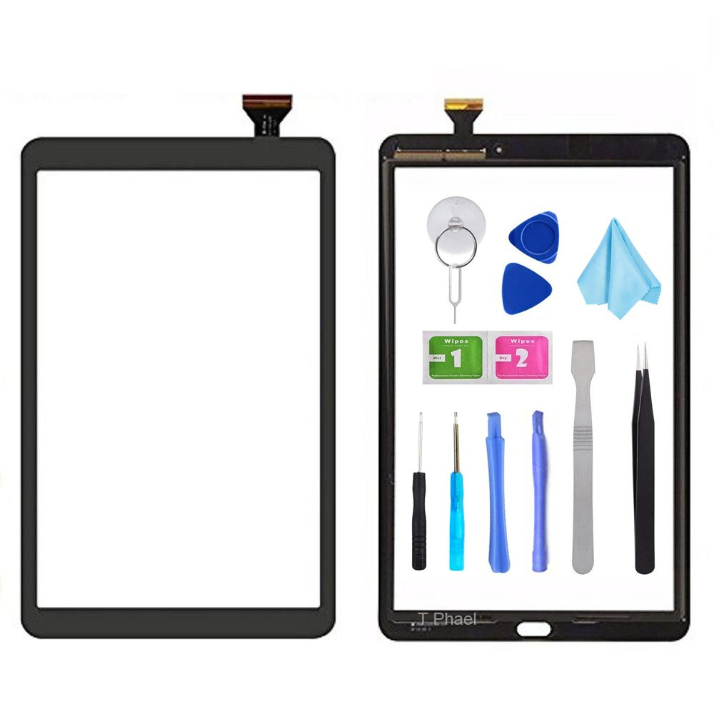 Black Touch Screen Digitizer for Samsung Galaxy Tab A 10.1 - Glass Replacement Parts for T580 T585 SM-T580 SM-T585 2016 (Not include LCD) with Tools Kit + Pre-installed Adhesive