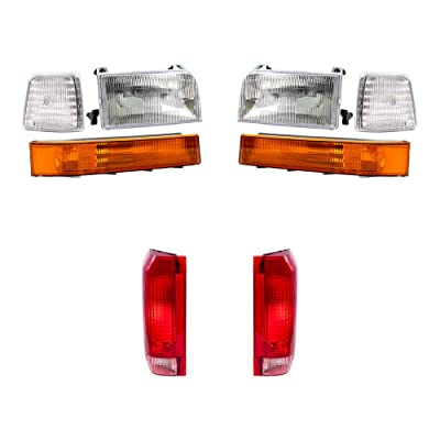 BROCK 8 Piece Lights Set Replacement for 1992-1997 Ford Styleside Pickup Truck Headlights Tail Lights and Signal Lights Kit: Automotive