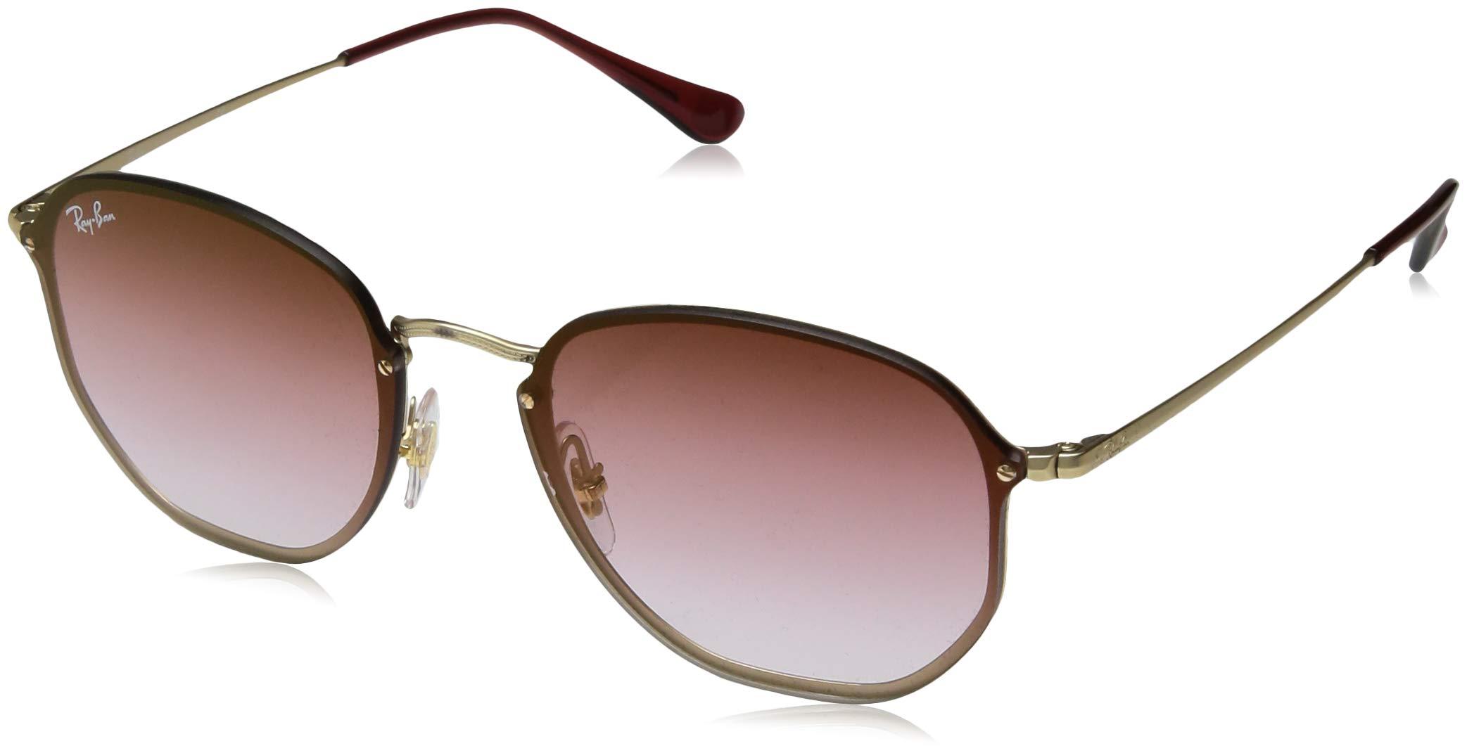 Ray-Ban RB3579N Blaze Hexagonal Sunglasses, Gold Demigloss/Dark Red Gradient Mirror, 58 mm