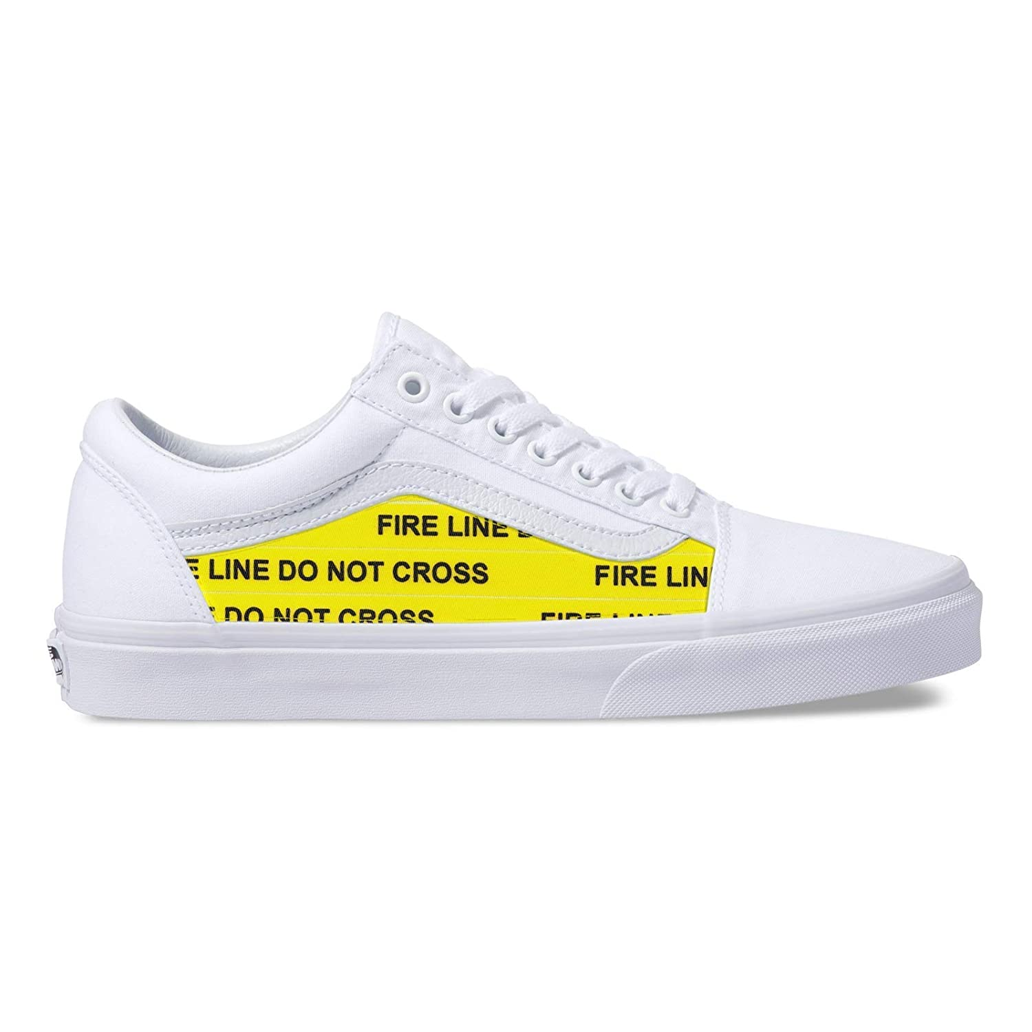 815ae924ae Amazon.com: Vans White Old Skool x OFF White Custom Handmade Uni-Sex Shoes  By Patch Collection: Handmade