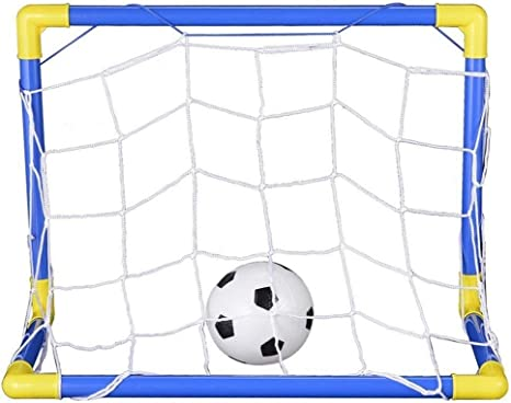 Funnyrunstore Mini f/útbol Plegable Porter/ía de f/útbol Juego de Red con Bomba Ni/ños Deporte Juegos de Interior al Aire Libre Juguetes Regalo de cumplea/ños para ni/ños Pl/ástico Azul y Amarillo