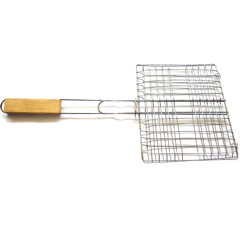 BBQ Grill Basket Outdoor Stainless Steel Grill Nets Barbecue Meshes with Handle zyurong