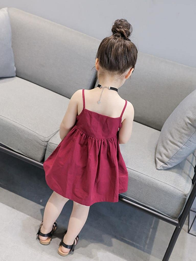Kehen Kids Toddler Baby Girls Solid Summer Dress Sleevless Backless Playwear Dresses Party Clothes