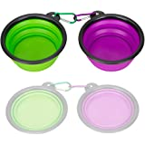 Collapsible Silicone Pet Bowl,IDEGG Food Grade Silicone,BPA Free Foldable Expandable Cup Dish for Pet Dog/Cat Food Water Feeding Travel Bowl