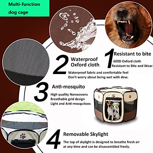 MESASA Portable Foldable Pet Playpen, Indoor/Outdoor, Dog/Cat/Puppy Exercise pen Kennel, Removable Mesh Shade Cover, dog pop up silhouettes pet pen (L, #4) by MESASA (Image #3)'