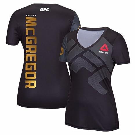 27e7152c98812 Reebok Conor McGregor UFC Women's Black/Liquid Gold Fight Kit Walkout Jersey