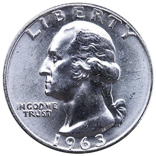1963 - U.S. Washington Quarter 90% Silver Coin, 1/4 Brilliant Uncirculated Mint State Condition