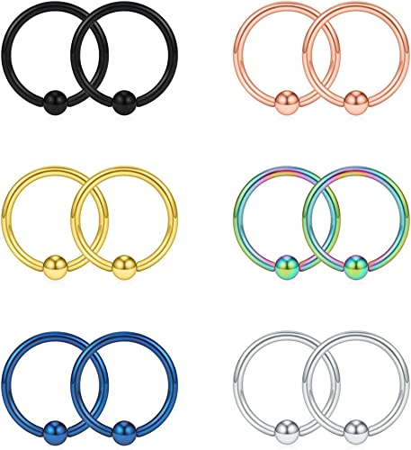 IPINK-316L Surgical Steel Seamless Continuous Hoop Rings Nose Tragus Lip Ear Piercing