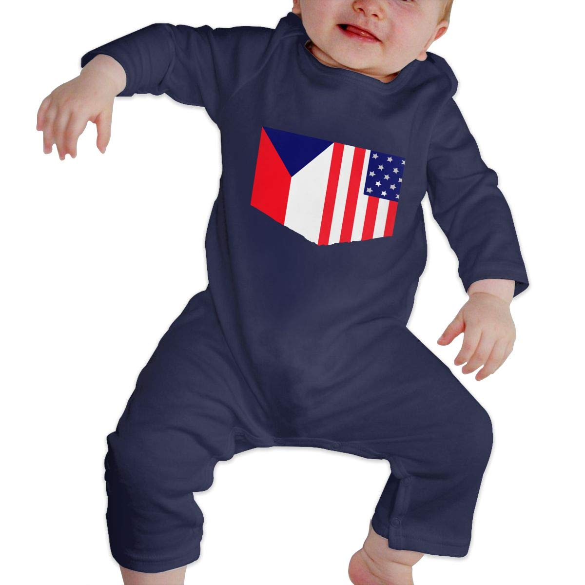 Warm Czech Flag and American Flag Cotton Playsuit Db84UR@5p Infant Baby Girls Boys Long Sleeve Jumpsuit