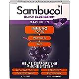 Sambucol Natural Black Elderberry Immuno Forte Capsules with Vitamin C, Zinc, Immune System Booster and non-drowsy Cold & Flu Remedy - 30 Capsules