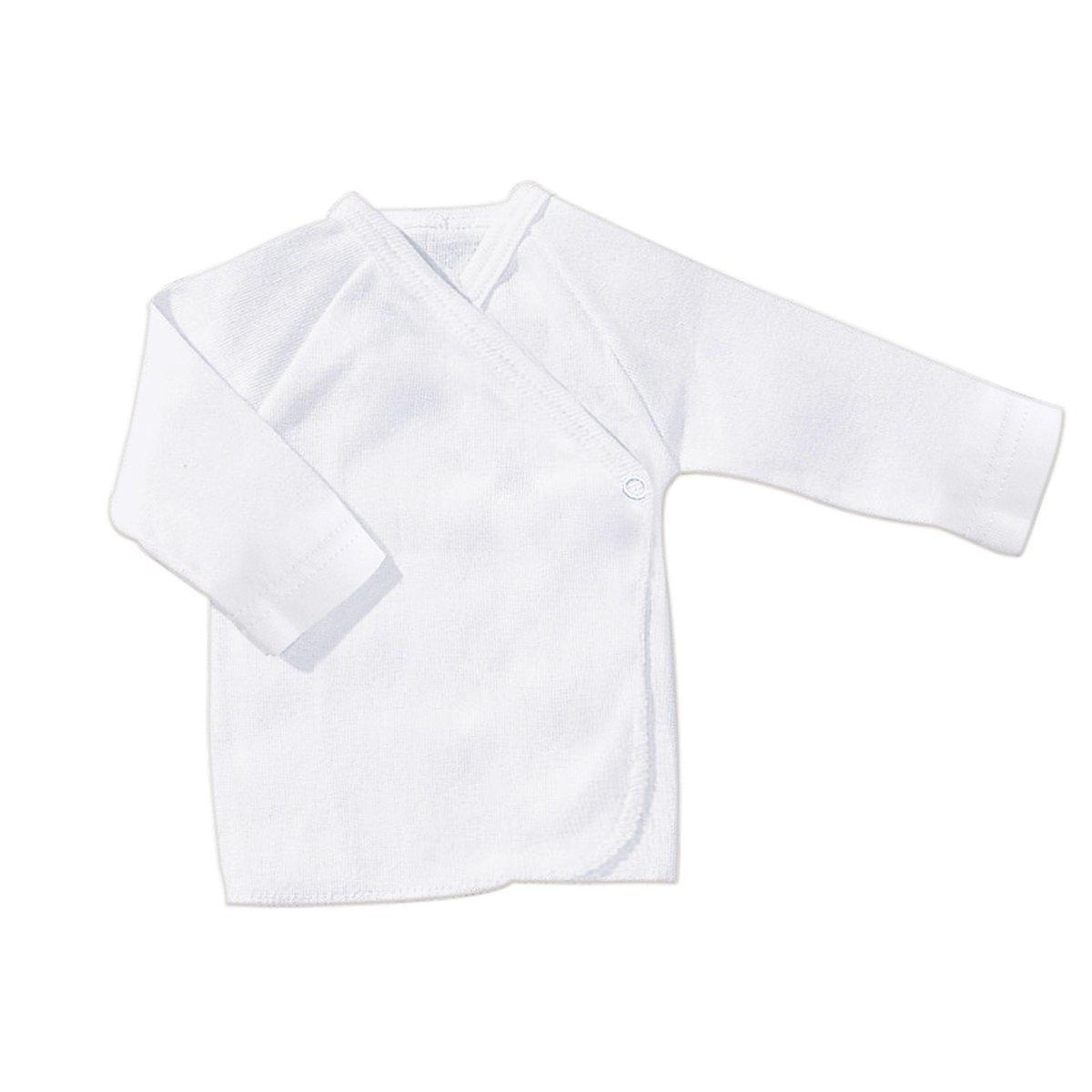 Bornino Baby Raglan-Flügelhemd/Basics Babybekleidung/Pullover / Wickelshirt/Größe 50 / weiß