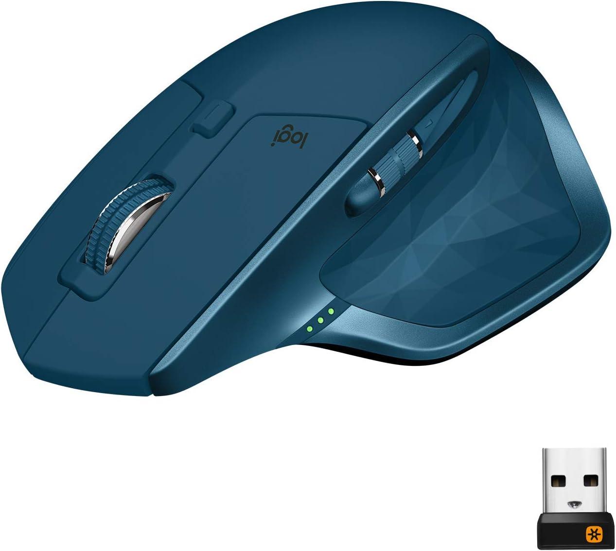 Logitech MX Master 2S Ratón inalámbrico, Múltiples Dispositivos, Bluetooth o 2.4GHz, Receptor USB Unifying, 4000 DPI Seguimiento en Cualquier Superficie, 7 Botones, PC/Mac/i Pad OS, Azul