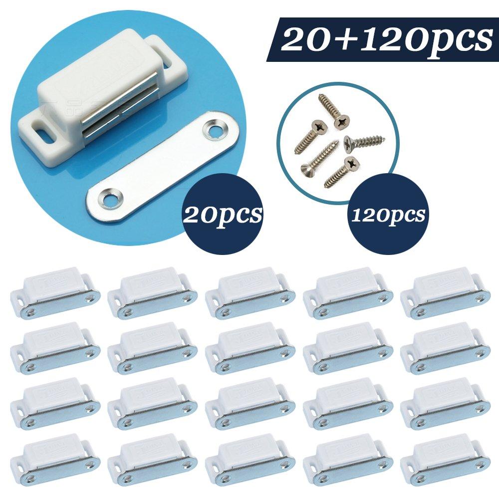 Jazzka Placard Loquet de porte magné tique pour cabinet 20 en 1 Kit With120pcs Vis Blanc