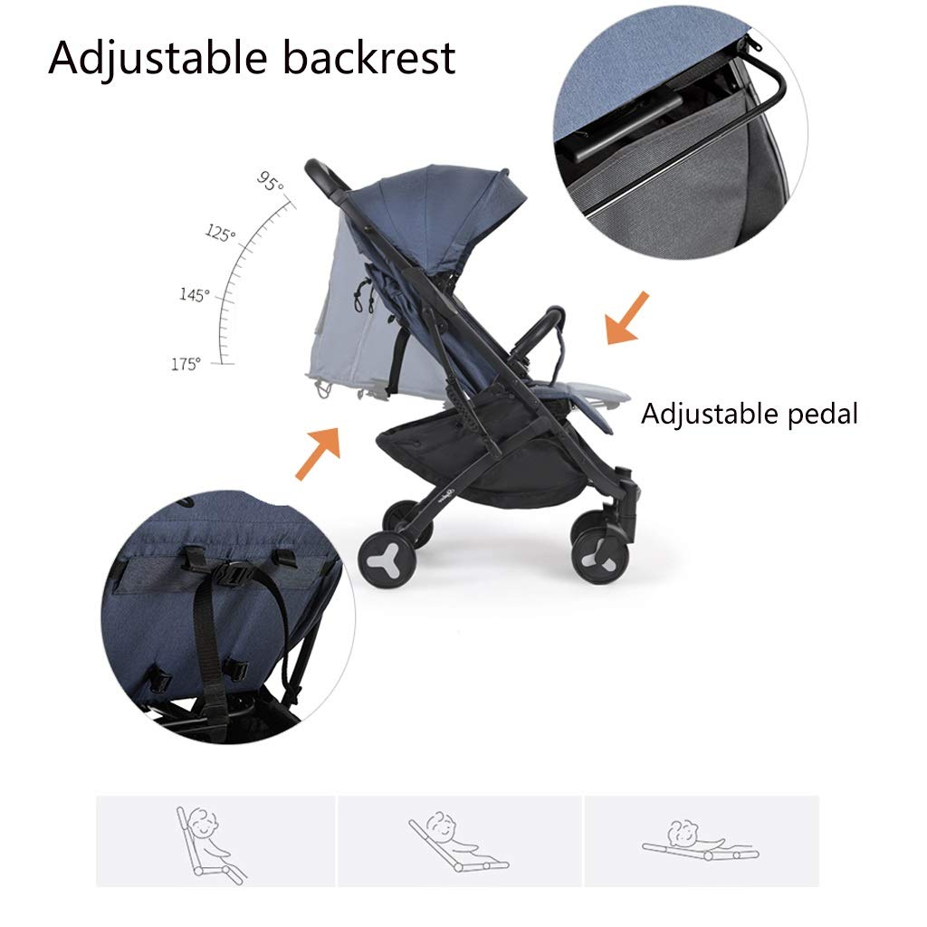 Lightweight Baby Stroller Universal Baby Sun And Sleep Stroller Cover - Baby Pram Sunshade Newborn Buggy Canopy Toddler Pushchair Infant Prams Sun Shade Ultraviolet-proof Cover, Black ( Color : Gray ) by Heay (Image #4)