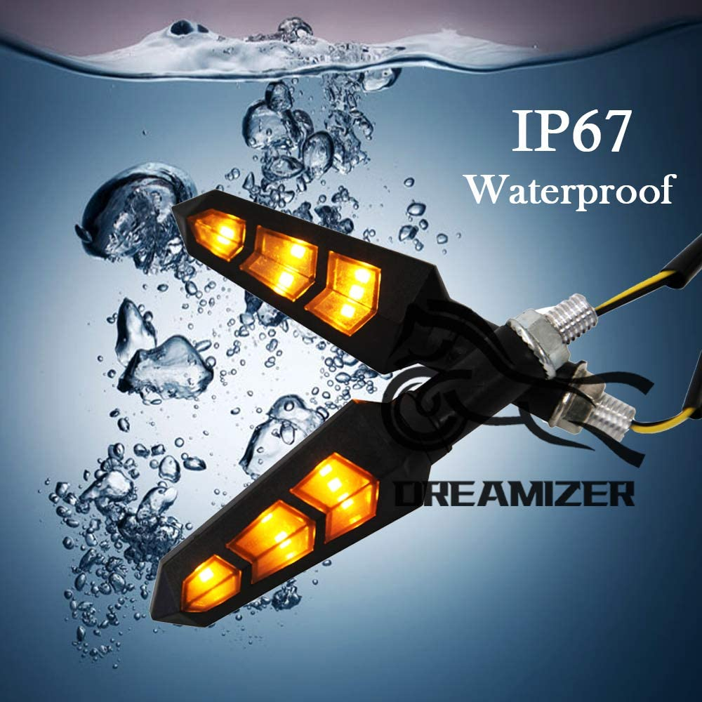 Dreamizer 4PCS Motorcycle Turn Signal Lights Universal 12V Amber Flowing Running Lights 12 LEDS Indicators for Motorbike Scooter Quad Cruiser Off Road