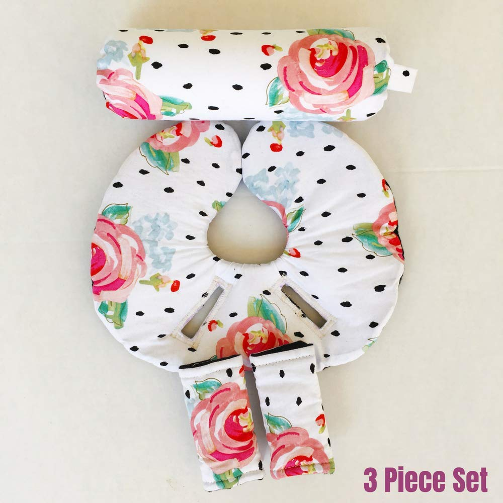 Car Seat Head Support, Floral, Black and White, Infant Head Support, Strap Covers, Car Seat Arm Pad, Baby Travel Pillow